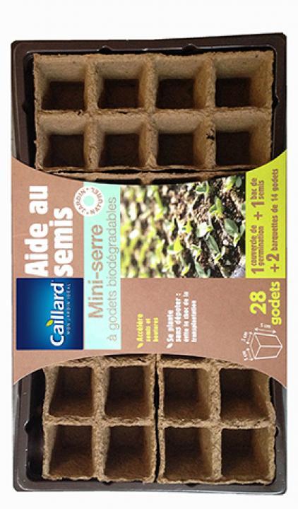 étique godets en fibre biodégradable Kit démarrage de semences avec mini serre